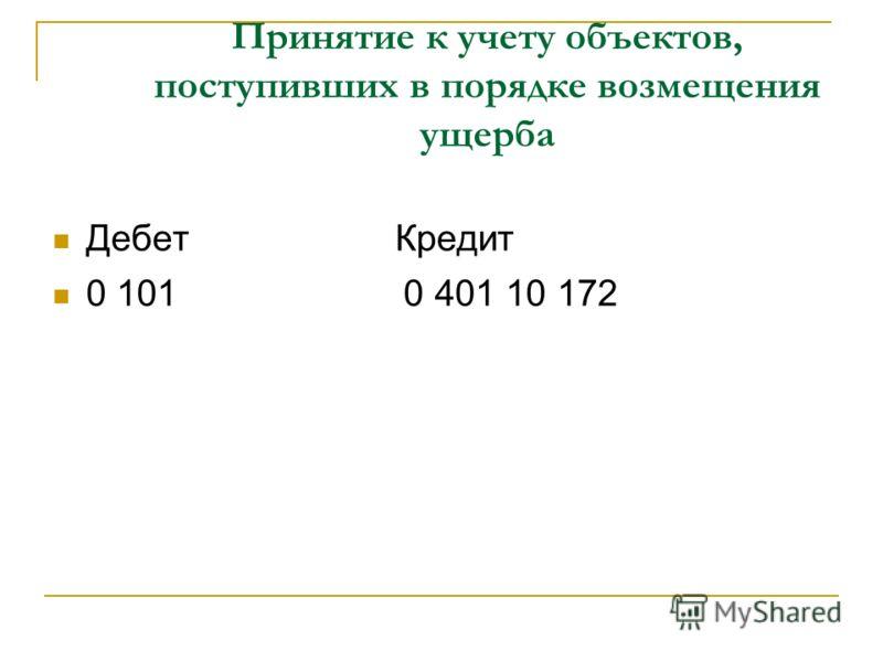Принятие к учету объектов, поступивших в порядке возмещения ущерба Дебет Кредит 0 101 0 401 10 172