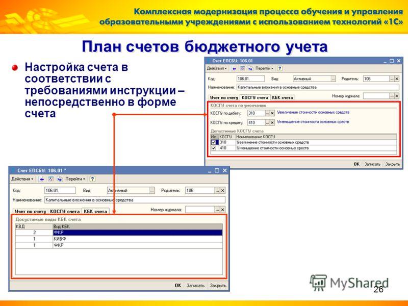 26 План счетов бюджетного учета Настройка счета в соответствии с требованиями инструкции – непосредственно в форме счета