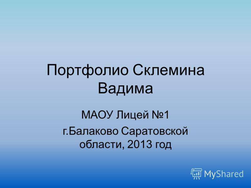 Портфолио Склемина Вадима МАОУ Лицей 1 г.Балаково Саратовской области, 2013 год