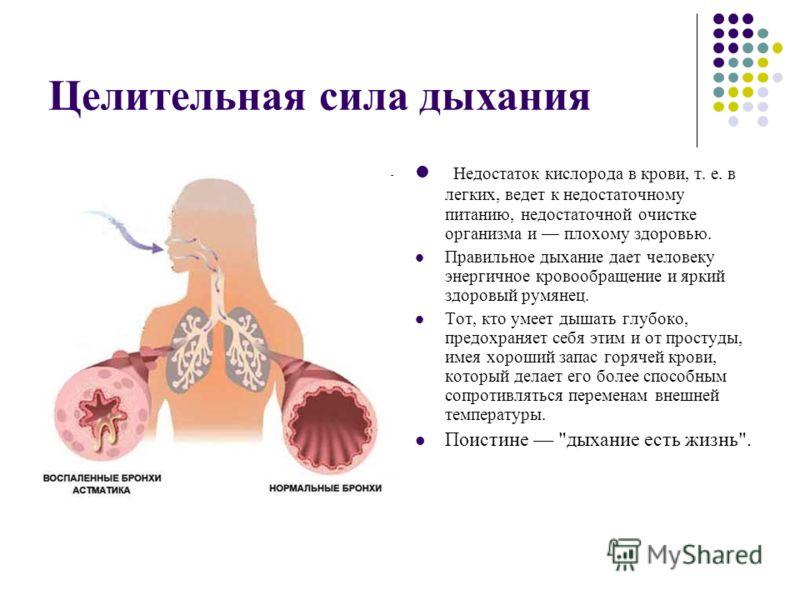 Целительная сила дыхания Недостаток кислорода в крови, т. е. в легких, ведет к недостаточному питанию, недостаточной очистке организма и плохому здоровью. Правильное дыхание дает человеку энергичное кровообращение и яркий здоровый румянец. Тот, кто у