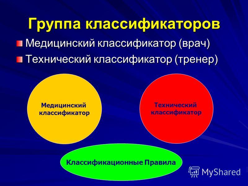 Группа классификаторов Медицинский классификатор (врач) Технический классификатор (тренер) Медицинский классификатор Технический классификатор Классификационные Правила