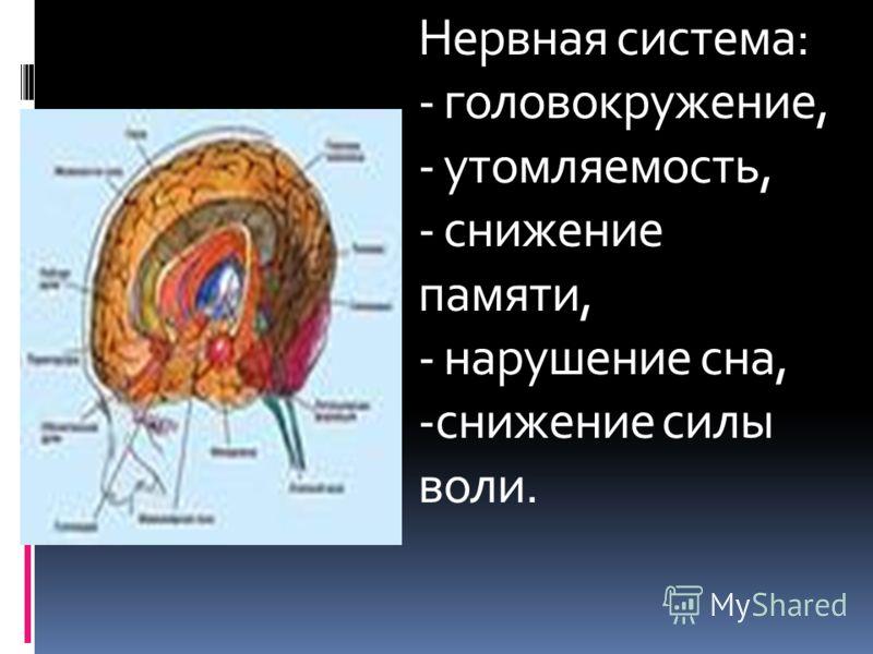 Нервная система: - головокружение, - утомляемость, - снижение памяти, - нарушение сна, -снижение силы воли.