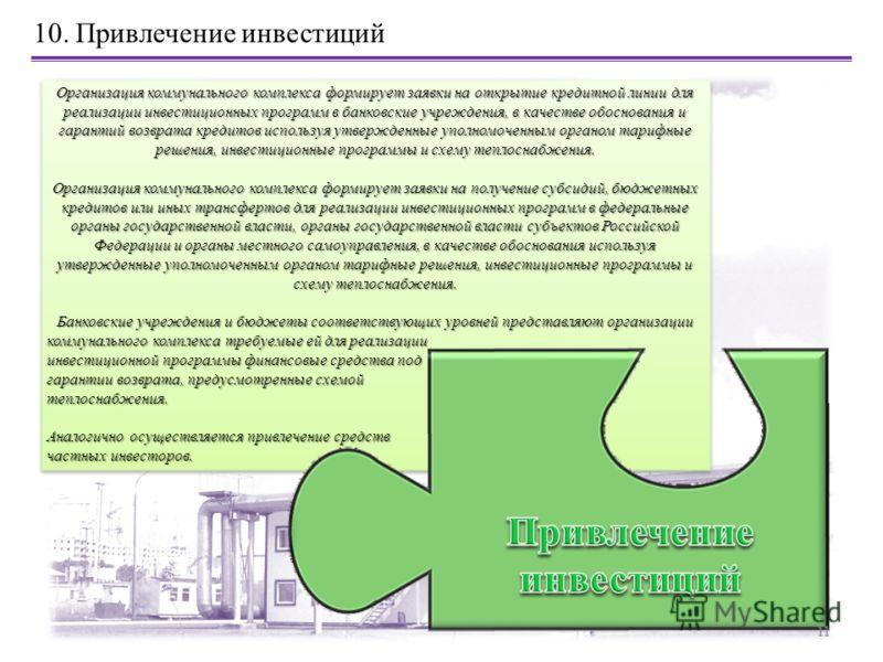 Организация коммунального комплекса формирует заявки на открытие кредитной линии для реализации инвестиционных программ в банковские учреждения, в качестве обоснования и гарантий возврата кредитов используя утвержденные уполномоченным органом тарифны