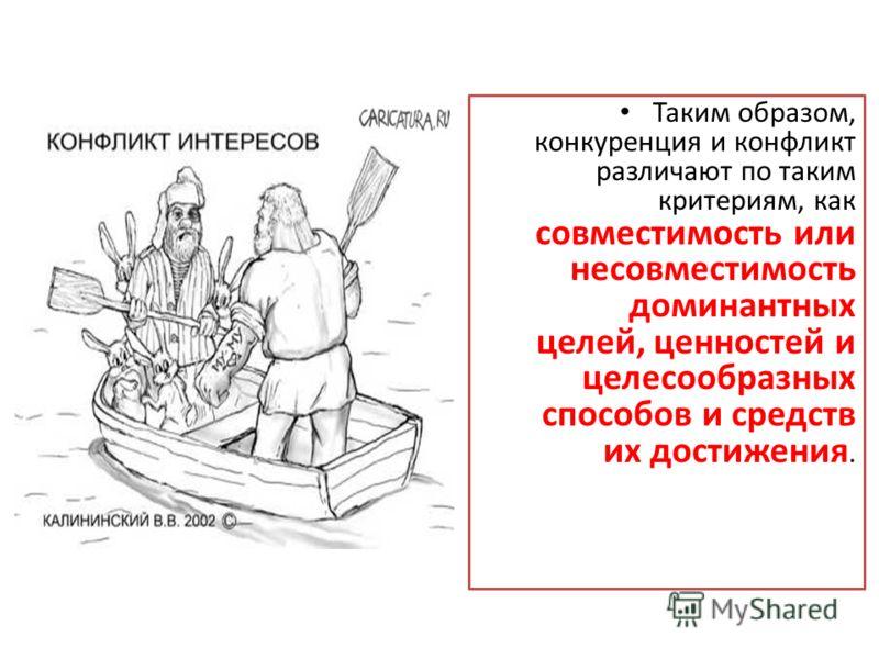 Таким образом, конкуренция и конфликт различают по таким критериям, как совместимость или несовместимость доминантных целей, ценностей и целесообразных способов и средств их достижения.