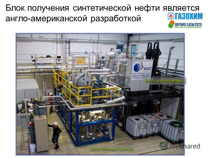 Блок получения синтетической нефти является англо-американской разработкой Блок Фишера-Тропша Блок газоподготовки