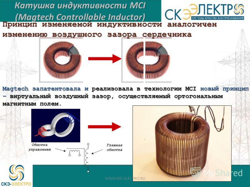 Magtech запатентовала и реализовала в технологии MCI новый принцип – виртуальный воздушный зазор, осуществляемый ортогональным магнитным полем. Катушка индуктивности MCI (Magtech Controllable Inductor) Принцип изменяемой индуктивности аналогичен изме