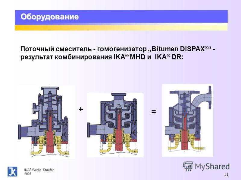 IKA ® Werke Staufen 2007 11 Оборудование Поточный смеситель - гомогенизатор Bitumen DISPAX ® - результат комбинирования IKA ® MHD и IKA ® DR: + =