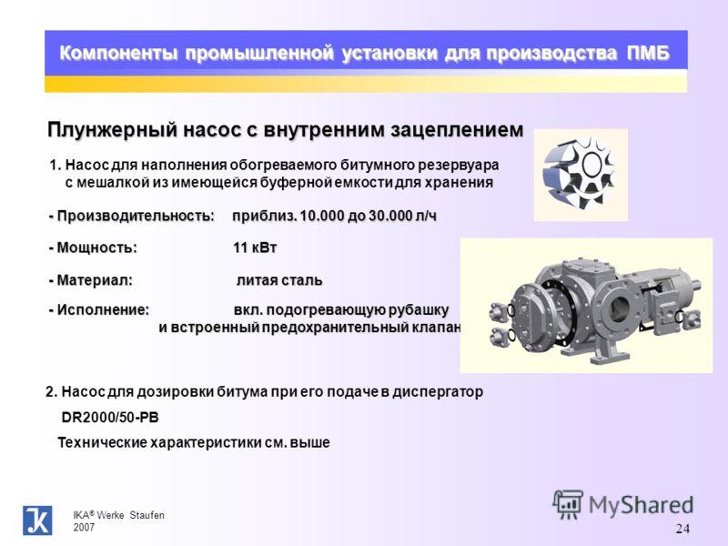 IKA ® Werke Staufen 2007 24 Компоненты промышленной установки для производства ПМБ Плунжерный насос с внутренним зацеплением 1. Насос для наполнения обогреваемого битумного резервуара с мешалкой из имеющейся буферной емкости для хранения - Производит