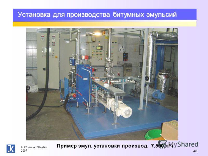 IKA ® Werke Staufen 2007 46 Установка для производства битумных эмульсий Пример эмул. установки производ. 7.500 л/ч