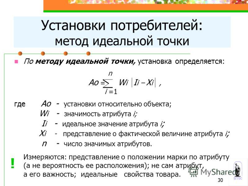 По методу идеальной точки, установка определяется: n Ао = W i I i – X i, i =1 где Ао - установки относительно объекта; W i - значимость атрибута i; I i - идеальное значение атрибута i ; X i - представление о фактической величине атрибута i ; n - числ
