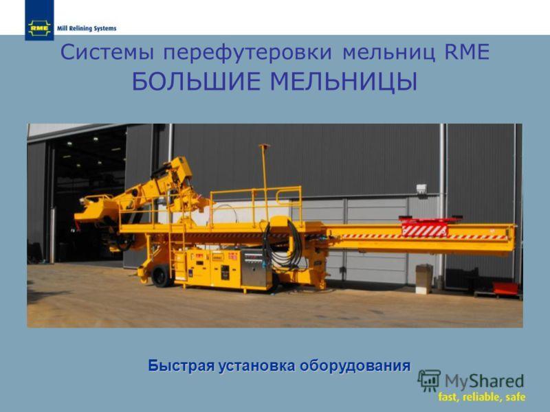 Системы перефутеровки мельниц RME БОЛЬШИЕ МЕЛЬНИЦЫ Быстрая установка оборудования Быстрая установка оборудования