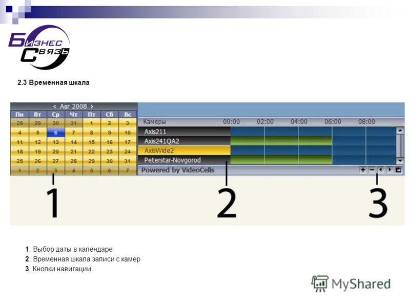 2.3 Временная шкала 1. Выбор даты в календаре 2. Временная шкала записи с камер 3. Кнопки навигации