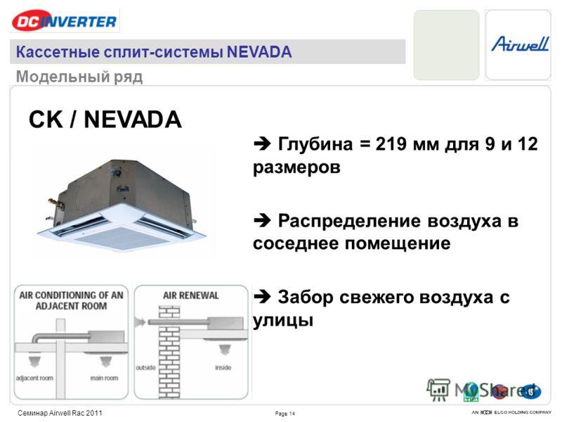 Page 14 Семинар Airwell Rac 2011 CK / NEVADA Глубина = 219 мм для 9 и 12 размеров Распределение воздуха в соседнее помещение Забор свежего воздуха с улицы Кассетные сплит-системы NEVADA Модельный ряд