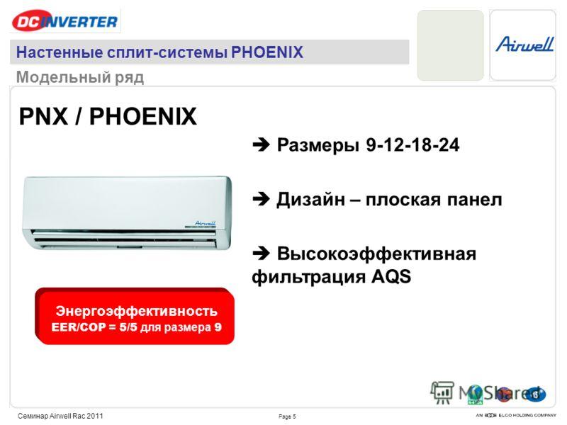 Page 5 Семинар Airwell Rac 2011 Настенные сплит-системы PHOENIX Модельный ряд PNX / PHOENIX Размеры 9-12-18-24 Дизайн – плоская панел Высокоэффективная фильтрация AQS Энергоэффективность EER/COP = 5/5 для размера 9