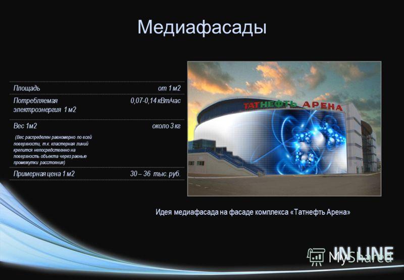Медиафасады Идея медиафасада на фасаде комплекса «Татнефть Арена» Площадьот 1 м2 Потребляемая электроэнергия 1 м2 0,07-0,14 кВт/час Вес 1м2 (Вес распределен равномерно по всей поверхности, т.к. кластерная линий крепится непосредственно на поверхность