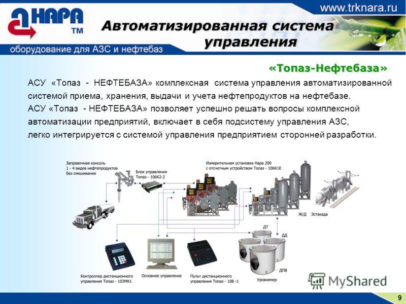 9 Автоматизированная система управления управления Автоматизированная система управления управления АСУ «Топаз - НЕФТЕБАЗА» комплексная система управления автоматизированной системой приема, хранения, выдачи и учета нефтепродуктов на нефтебазе. АСУ «