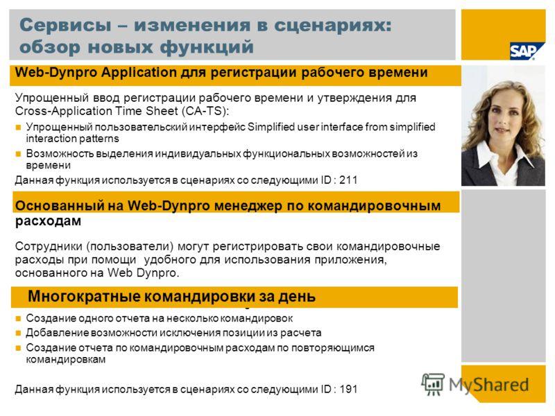 Сервисы – изменения в сценариях: обзор новых функций Web-Dynpro Application для регистрации рабочего времени Упрощенный ввод регистрации рабочего времени и утверждения для Cross-Application Time Sheet (CA-TS): Упрощенный пользовательский интерфейс Si