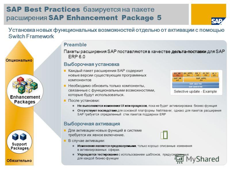 SAP Best Practices базируется на пакете расширения SAP Enhancement Package 5 Preamble Пакеты расширения SAP поставляются в качестве дельта-поставки для SAP ERP 6.0 Выборочная установка Каждый пакет расширения SAP содержит новые версии существующих пр