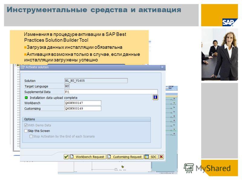 Инструментальные средства и активация Изменения в процедуре активации в SAP Best Practices Solution Builder Tool Загрузка данных инсталляции обязательна Активация возможна только в случае, если данные инсталляции загружены успешно