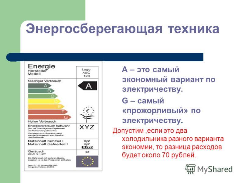 Энергосберегающая техника А – это самый экономный вариант по электричеству. G – самый «прожорливый» по электричеству. Допустим,если это два холодильника разного варианта экономии, то разница расходов будет около 70 рублей.