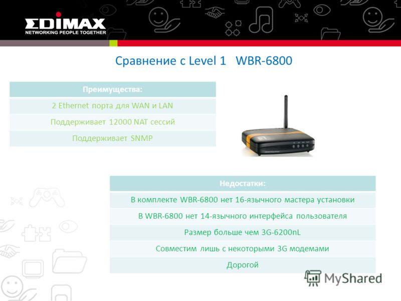 Сравнение с Level 1 WBR-6800 Преимущества: 2 Ethernet порта для WAN и LAN Поддерживает 12000 NAT сессий Поддерживает SNMP Недостатки: В комплекте WBR-6800 нет 16-язычного мастера установки В WBR-6800 нет 14-язычного интерфейса пользователя Размер бол