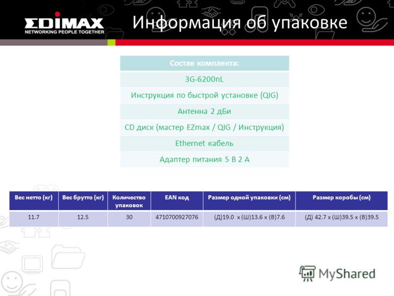 Информация об упаковке Состав комплекта: 3G-6200nL Инструкция по быстрой установке (QIG) Антенна 2 дБи CD диск (мастер EZmax / QIG / Инструкция) Ethernet кабель Адаптер питания 5 В 2 А Вес нетто (кг)Вес брутто (кг)Количество упаковок EAN кодРазмер од