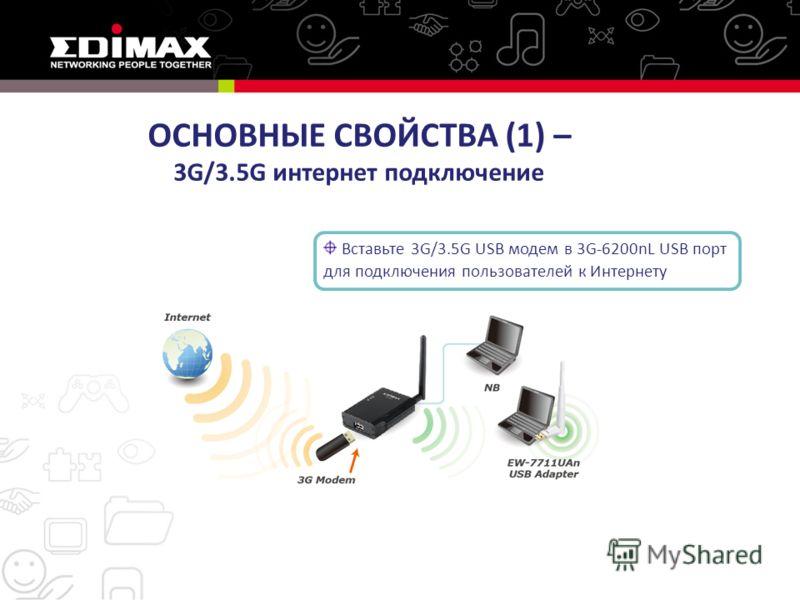 Вставьте 3G/3.5G USB модем в 3G-6200nL USB порт для подключения пользователей к Интернету ОСНОВНЫЕ СВОЙСТВА (1) – 3G/3.5G интернет подключение