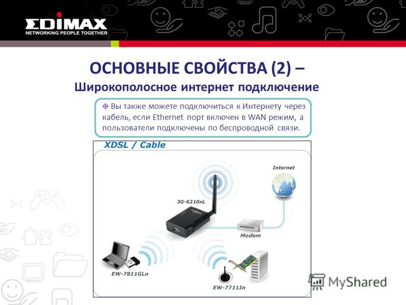 ОСНОВНЫЕ СВОЙСТВА (2) – Широкополосное интернет подключение Вы также можете подключиться к Интернету через кабель, если Ethernet порт включен в WAN режим, а пользователи подключены по беспроводной связи.