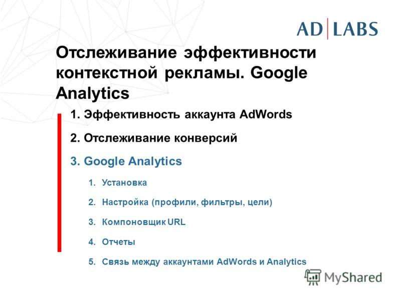 Отслеживание эффективности контекстной рекламы. Google Analytics 1.Эффективность аккаунта AdWords 2.Отслеживание конверсий 3.Google Analytics 1.Установка 2.Настройка (профили, фильтры, цели) 3.Компоновщик URL 4.Отчеты 5.Связь между аккаунтами AdWords