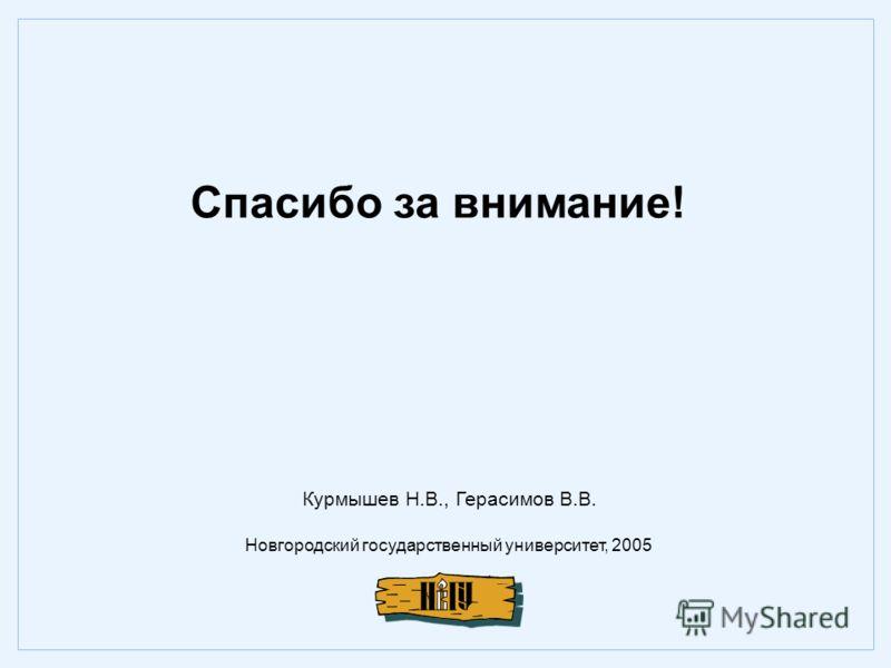 Спасибо за внимание! Новгородский государственный университет, 2005 Курмышев Н.В., Герасимов В.В.