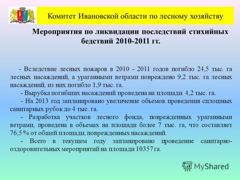 Комитет Ивановской области по лесному хозяйству Мероприятия по ликвидации последствий стихийных бедствий 2010-2011 гг. - Вследствие лесных пожаров в 2010 - 2011 годов погибло 24,5 тыс. га лесных насаждений, а ураганными ветрами повреждено 9,2 тыс. га