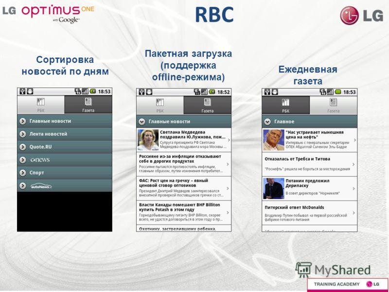 RBC Сортировка новостей по дням Пакетная загрузка (поддержка offline-режима) Ежедневная газета