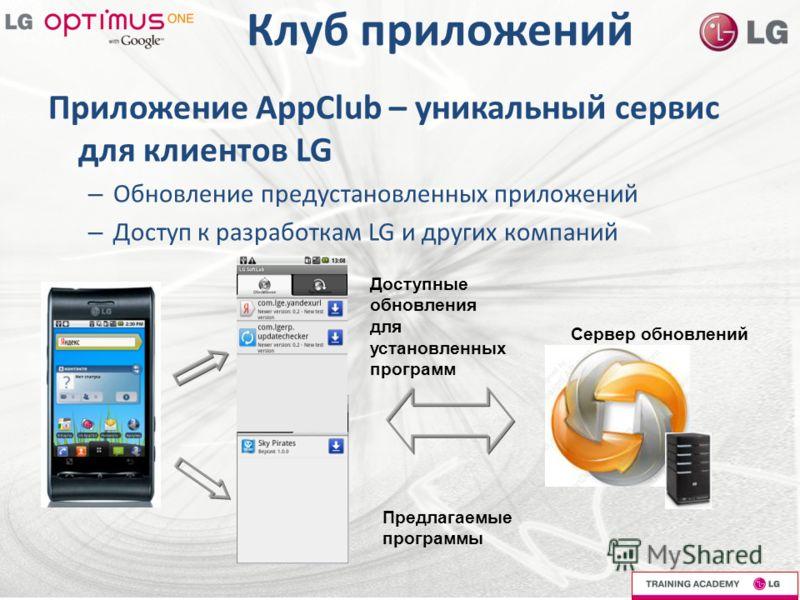 Клуб приложений Приложение AppClub – уникальный сервис для клиентов LG – Обновление предустановленных приложений – Доступ к разработкам LG и других компаний Доступные обновления для установленных программ Предлагаемые программы Сервер обновлений