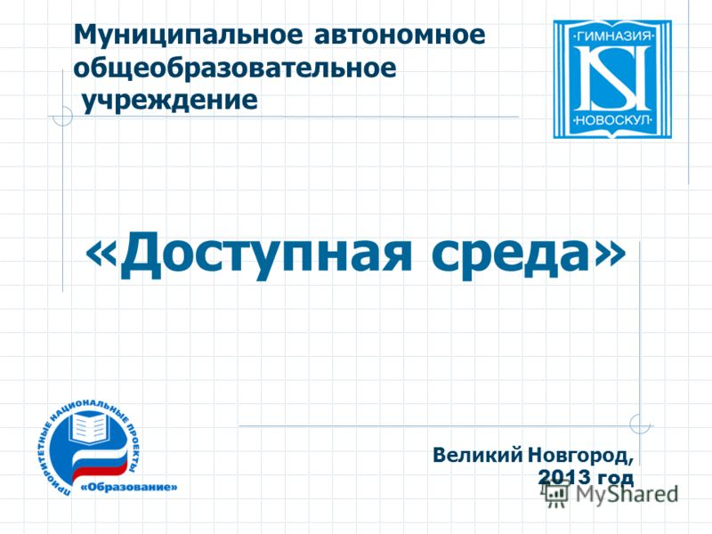 Муниципальное автономное общеобразовательное учреждение «Доступная среда» Великий Новгород, 2013 год