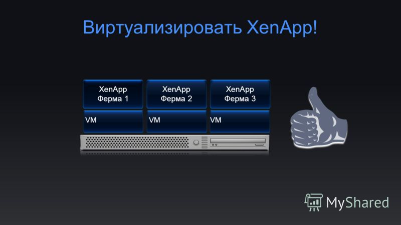 Виртуализировать XenApp! XenApp Ферма 1 XenApp Ферма 2 XenApp Ферма 3 VM