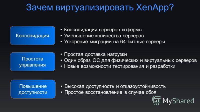 Зачем виртуализировать XenApp? Consolidation Простота управления Консолидация Консолидация серверов и фермы Уменьшение количества серверов Ускорение миграции на 64-битные серверы Простая доставка нагрузки Один образ ОС для физических и виртуальных се