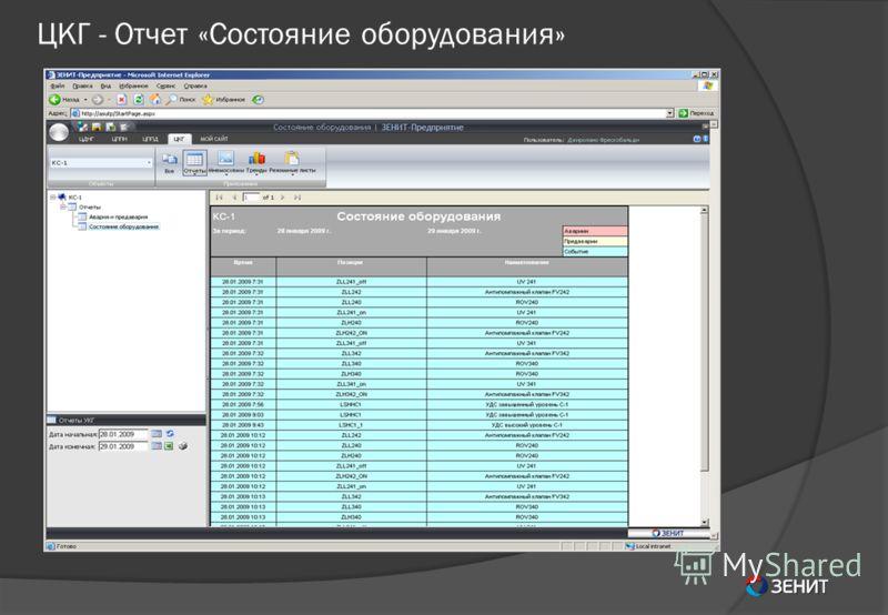 ЦКГ - Отчет «Состояние оборудования»