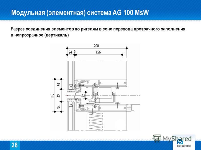 Разрез соединения элементов по ригелям в зоне перехода прозрачного заполнения в непрозрачное (вертикаль) 28 Модульная (элементная) система AG 100 МsW