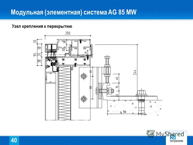 Узел крепления к перекрытию 40 Модульная (элементная) система AG 85 МW