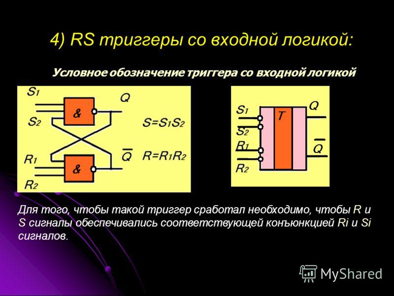 4) RS триггеры со входной логикой: Условное обозначение триггера со входной логикой Для того, чтобы такой триггер сработал необходимо, чтобы R и S сигналы обеспечивались соответствующей конъюнкцией Ri и Si сигналов.