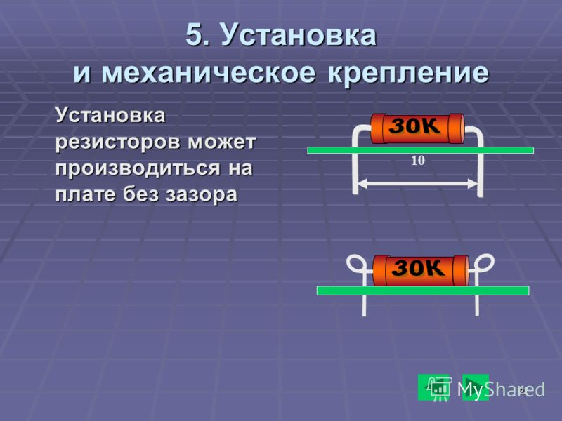 22 5. Установка и механическое крепление Установка резисторов может производиться на плате без зазора 10