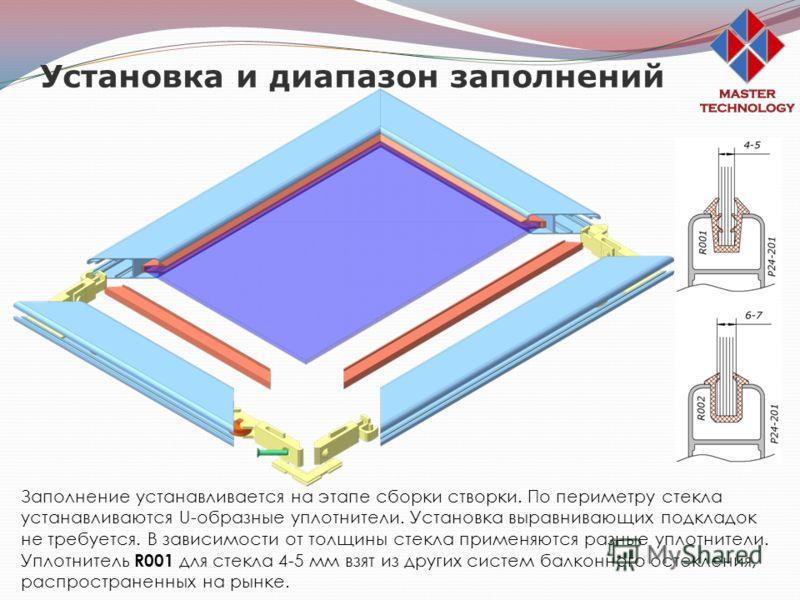 Установка и диапазон заполнений Заполнение устанавливается на этапе сборки створки. По периметру стекла устанавливаются U-образные уплотнители. Установка выравнивающих подкладок не требуется. В зависимости от толщины стекла применяются разные уплотни