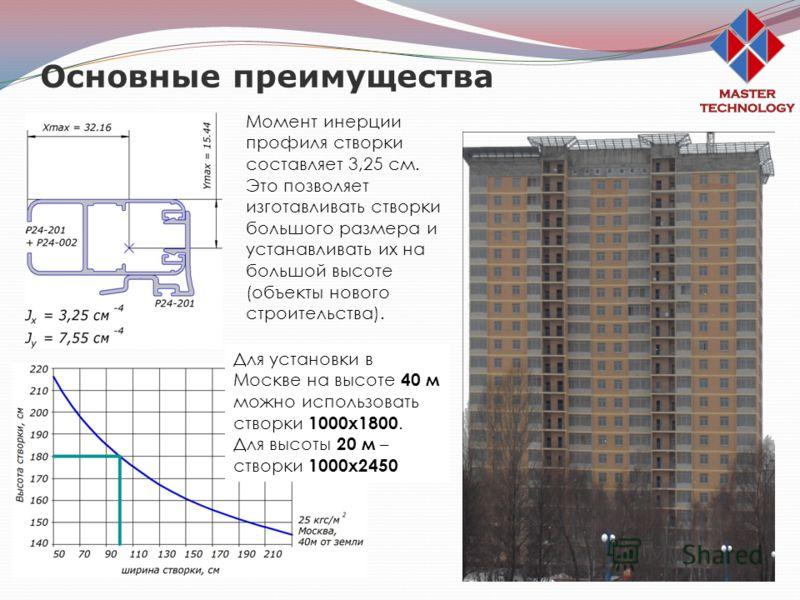 Основные преимущества Момент инерции профиля створки составляет 3,25 см. Это позволяет изготавливать створки большого размера и устанавливать их на большой высоте (объекты нового строительства). Для установки в Москве на высоте 40 м можно использоват