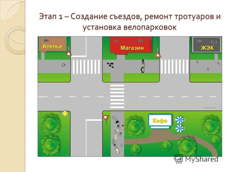Этап 1 – Создание съездов, ремонт тротуаров и установка велопарковок