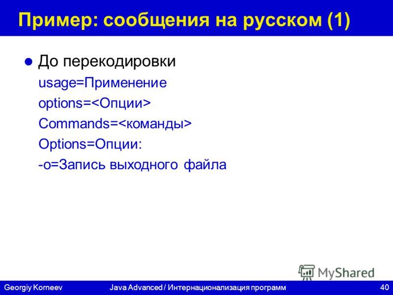 40 СПбГУ ИТМО Georgiy KorneevJava Advanced / Интернационализация программ Пример: сообщения на русском (1) До перекодировки usage=Применение options= Commands= Options=Опции: -o=Запись выходного файла