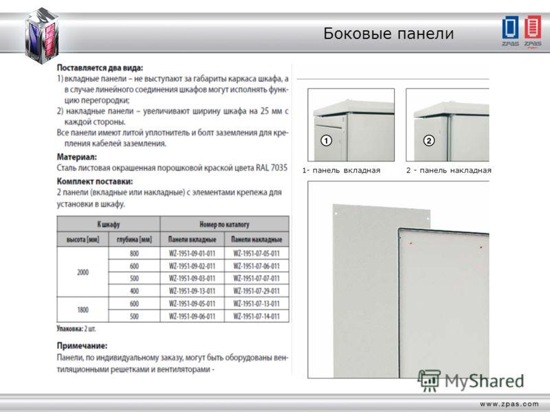 Боковые панели Поставляется два вида: 1) вкладные панели – не выступают за габариты каркаса шкафа, а в случае линейного соединения шкафов могут исполнять функ- цию перегородки; 2) накладные панели – увеличивают ширину шкафа на 25 мм с каждой стороны.
