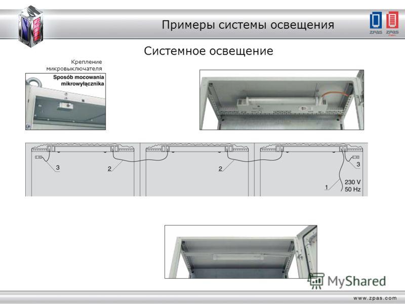 Примеры системы освещения Системное освещение Крепление микровыключателя