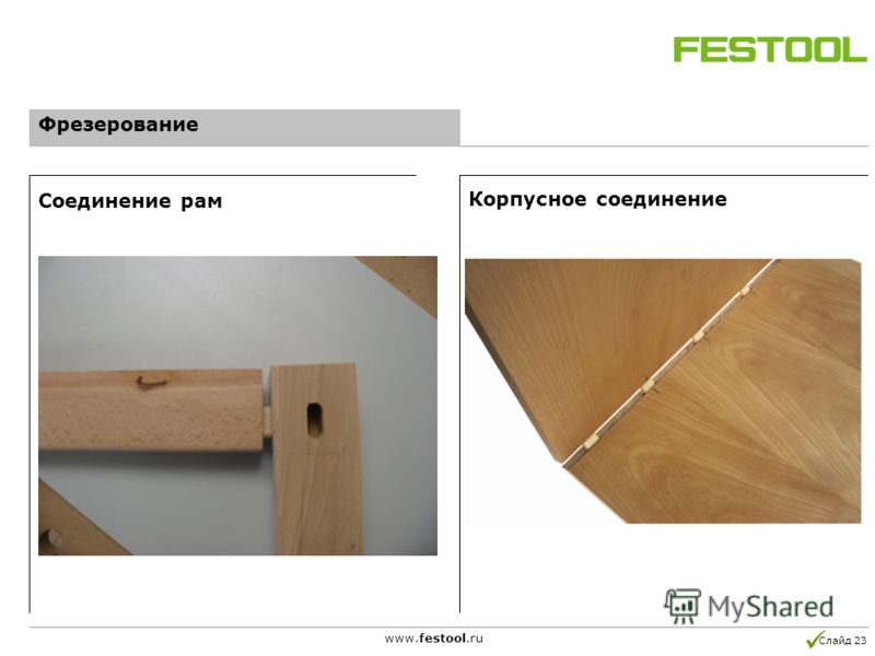Слайд 23 www.festool.ru Соединение рам Корпусное соединение Фрезерование