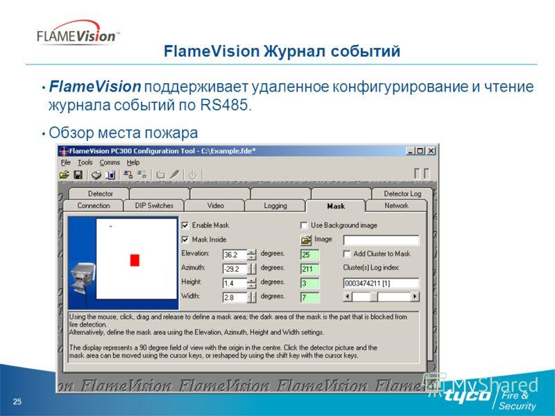 25 FlameVision Журнал событий FlameVision поддерживает удаленное конфигурирование и чтение журнала событий по RS485. Обзор места пожара