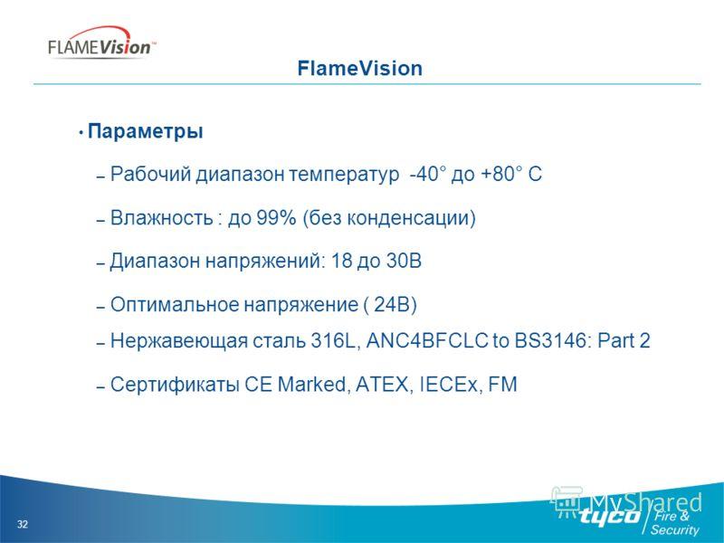 32 FlameVision Параметры – Рабочий диапазон температур -40° до +80° C – Влажность : до 99% (без конденсации) – Диапазон напряжений: 18 до 30В – Оптимальное напряжение ( 24В) – Нержавеющая сталь 316L, ANC4BFCLC to BS3146: Part 2 – Сертификаты CE Marke